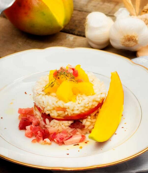 arroz-al-mango con bacon
